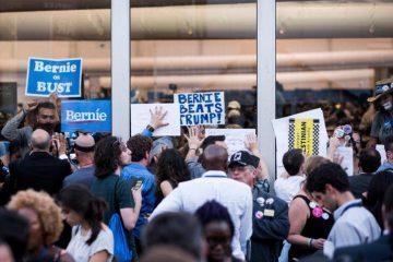 UNITED STATES - JULY 26: Bernie Sanders delegates and supporters stage a walk out and protest at the media tents outside the Democratic National Convention in Philadelphia on Tuesday, July 26, 2016. (Photo By Bill Clark/CQ Roll Call)