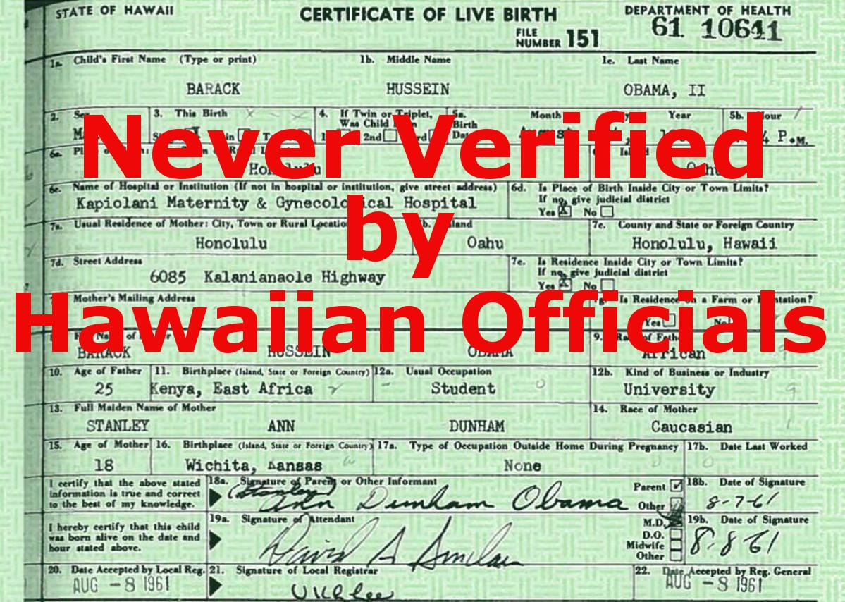 Hawaii never verified obamas birth certificate the washington hawaii never verified obamas birth certificate the washington standard xflitez Choice Image