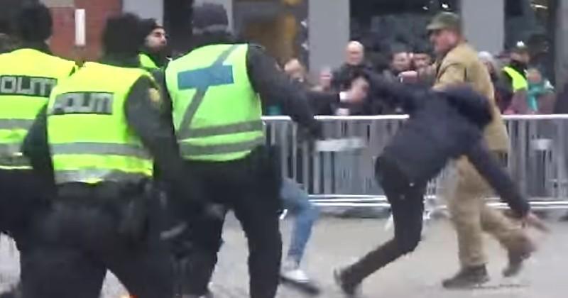 Muslims Jump Fence to Assault Anti-Islamist Who Burned Koran (Video)